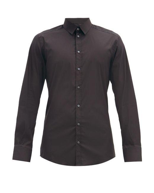 メンズ Dolce & Gabbana ゴールドフィット コットンブレンド ポプリンシャツ Black