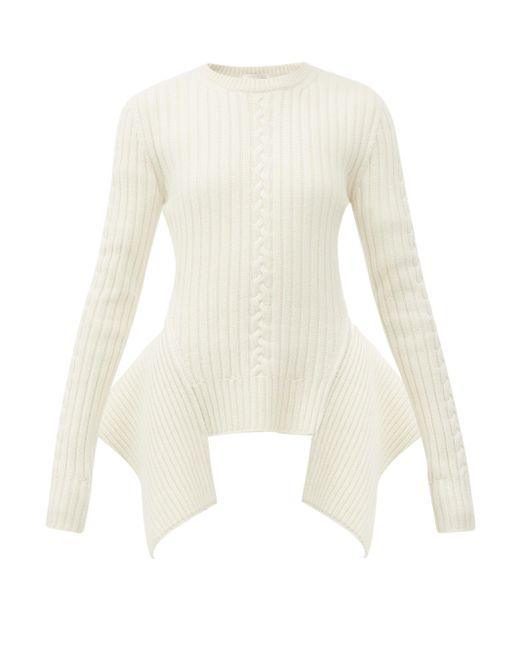 Alexander McQueen ペプラムヘム リブ&ケーブルニットセーター Natural