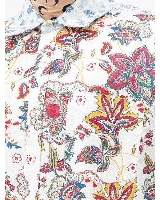 メンズ MARINE SERRE フローラル アップサイクルコットンシャツ Multicolor