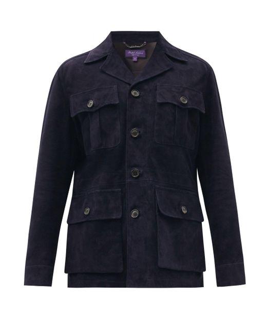 メンズ Ralph Lauren Purple Label エドモンド スエードジャケット Blue