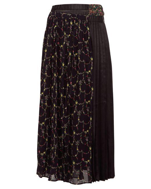 Junya Watanabe フローラル クレープ&サテン スカート Multicolor