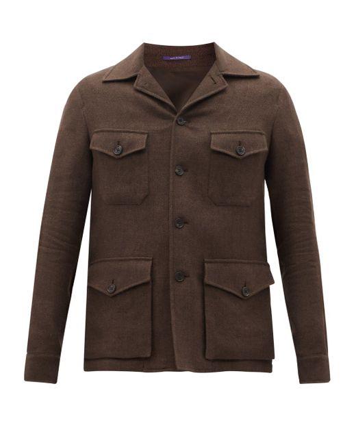 メンズ Ralph Lauren Purple Label スノードン リネンシルク フィールドジャケット Brown