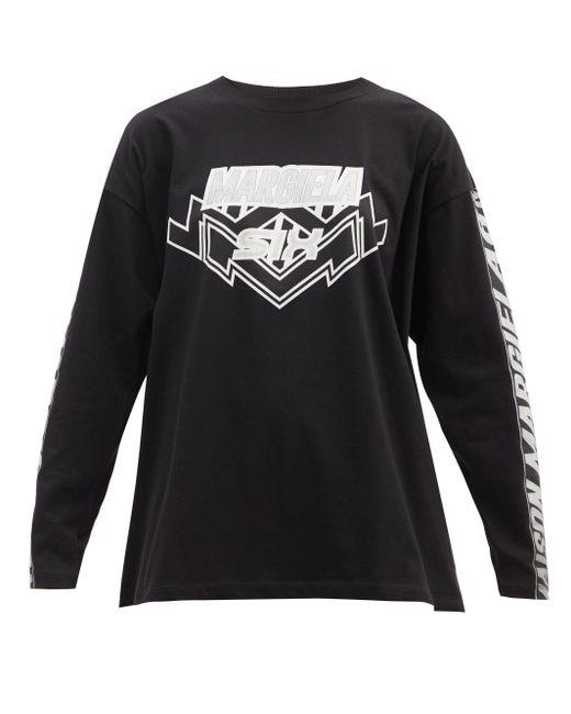 MM6 by Maison Martin Margiela ロゴプリント コットン ロングスリーブtシャツ Black