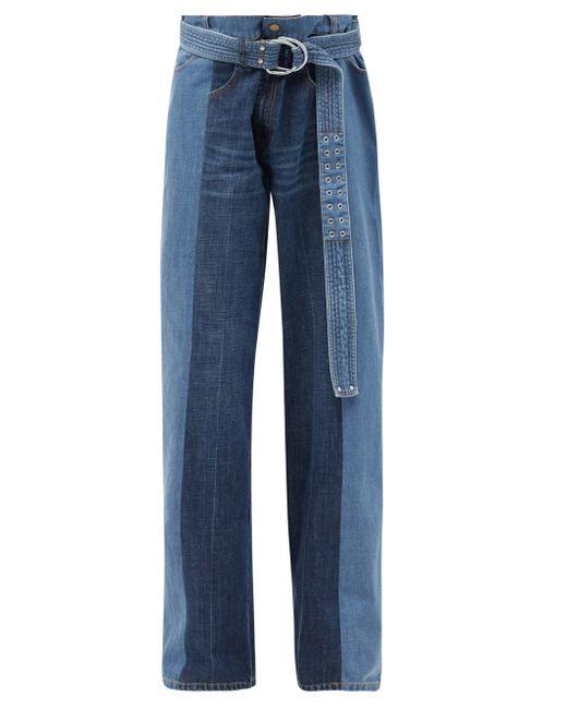 La Fetiche Blue Marsha Panelled Upcycled Wide-leg Jeans