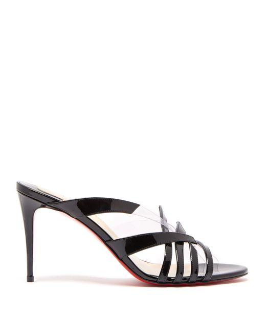 Christian Louboutin Black Decidela Plexi-trim Patent-leather Mules