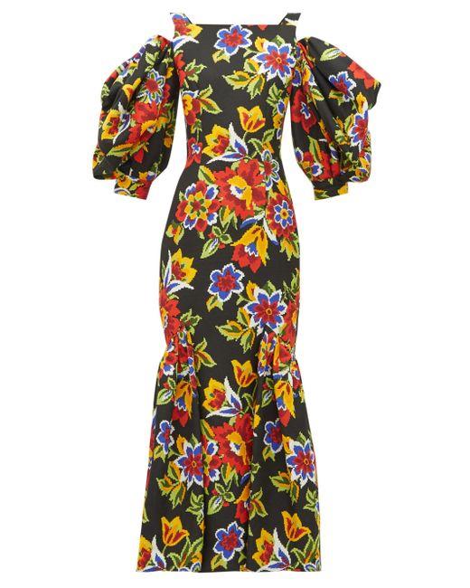 Carolina Herrera フローラル コットンシルクドレス Multicolor