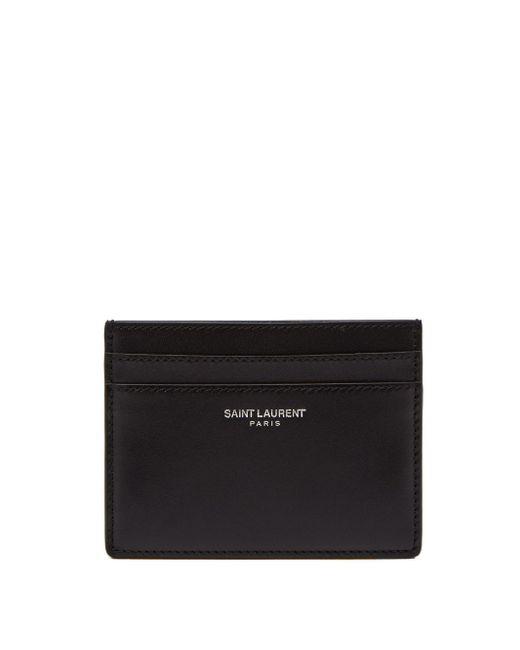 Porte-cartes en cuir à logo estampé Saint Laurent pour homme en coloris Black
