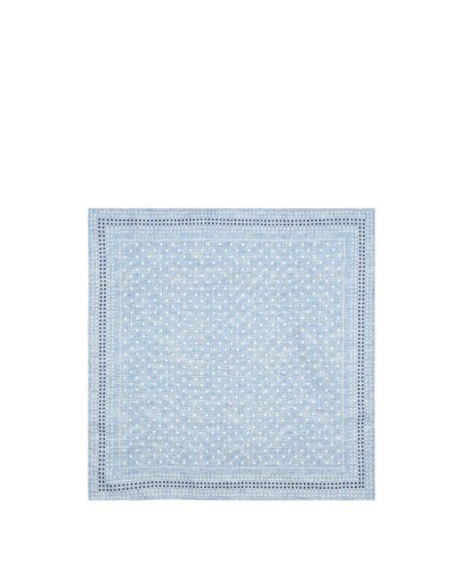 メンズ Brunello Cucinelli ポルカドット&ハウンドトゥース シルクポケットチーフ Blue