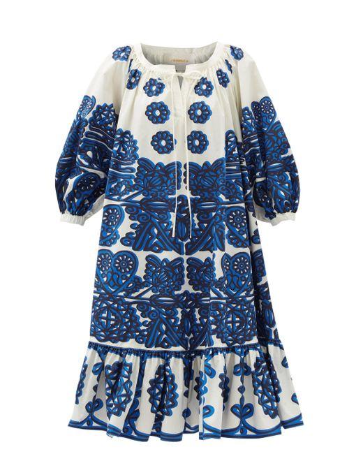 LaDoubleJ コットンファイユドレス Blue