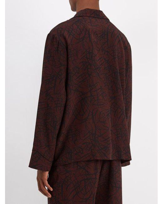 Squiggle-print silk-crepe pyjama shirt Raey Bulk Designs Sale Discount With Mastercard 4caudM9
