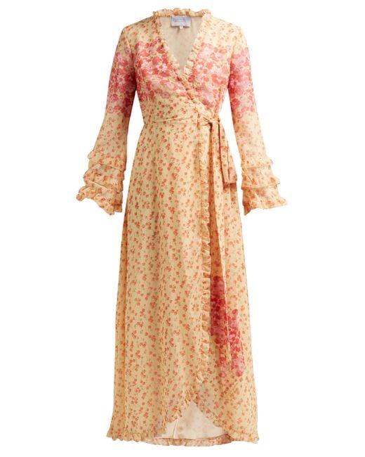 Luisa Beccaria Multicolor Floral-print Georgette Wrap Dress