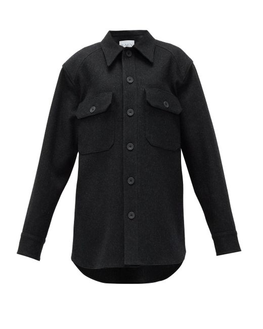 Raey オーバーサイズ ウール シャツジャケット Black
