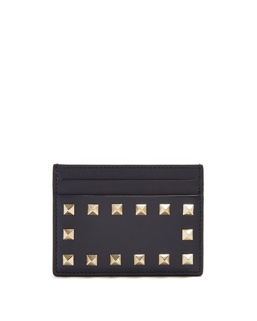 Valentino - Blue Rockstud Leather Cardholder - Lyst