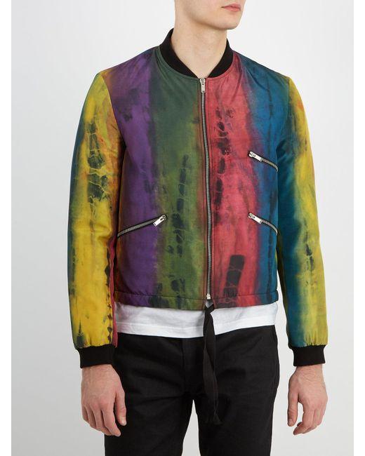 cced9c0c37367 Lyst - Saint Laurent Tie-dyed Rainbow-print Silk Bomber .