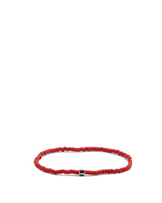 Luis Morais - Red Bead, Enamel And Yellow Gold Bracelet for Men - Lyst