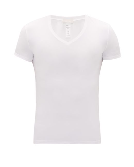 Hanro White V-neck Micro-touch Jersey T-shirt for men