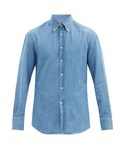 メンズ Brunello Cucinelli ボタンダウン デニムシャツ Blue