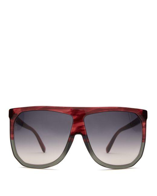 Loewe フィリッパ フラットトップサングラス Red