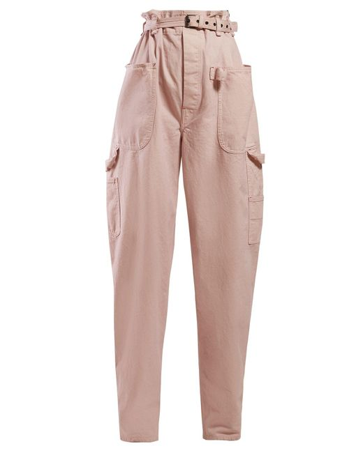 Isabel Marant Pink Inny Paperbag Waist Wide Leg Trousers