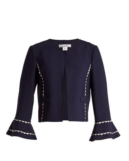 Oscar de la Renta - Blue Ric Rac Trimmed Wool Blend Crepe Jacket - Lyst