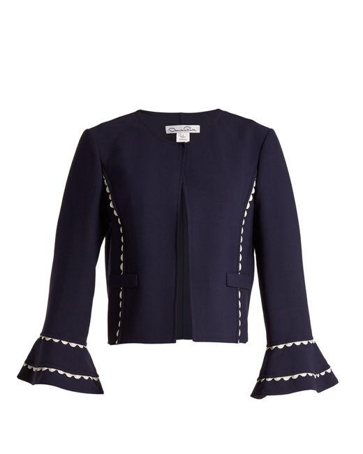 Oscar de la Renta - Blue Rickrack Trimmed Wool Blend Crepe Jacket - Lyst
