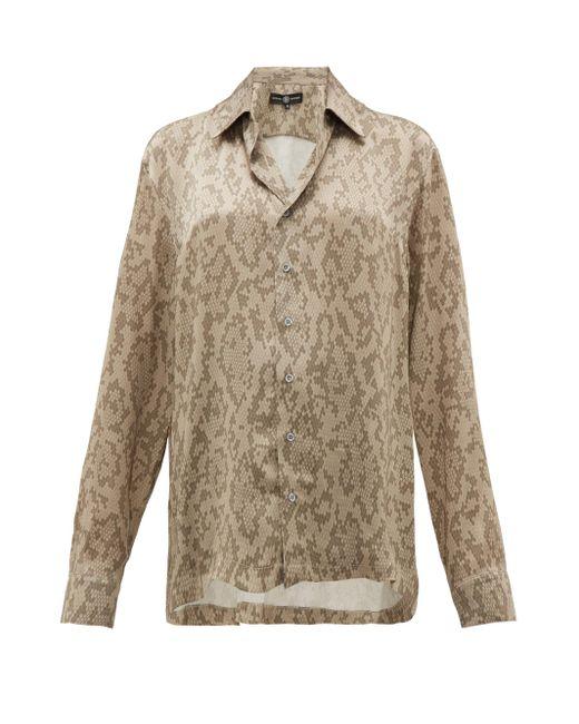 Edward Crutchley スネークプリント キューバンカラー シルクシャツ Multicolor