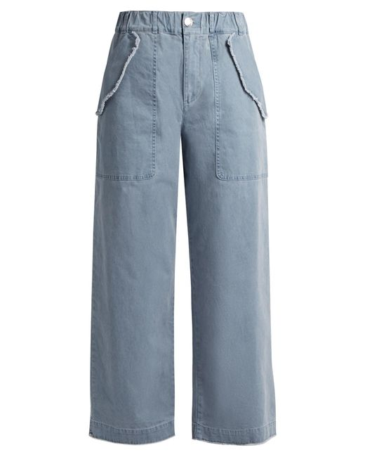 See By Chloé | Blue High-waisted Wide-leg Cotton-blend Trousers | Lyst