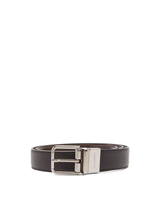 メンズ Dolce & Gabbana リバーシブル レザーベルト Black