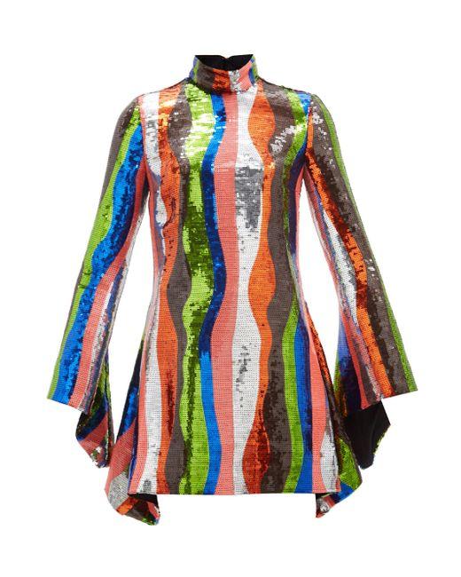 Halpern フレアスリーブ スパンコールミニドレス Multicolor