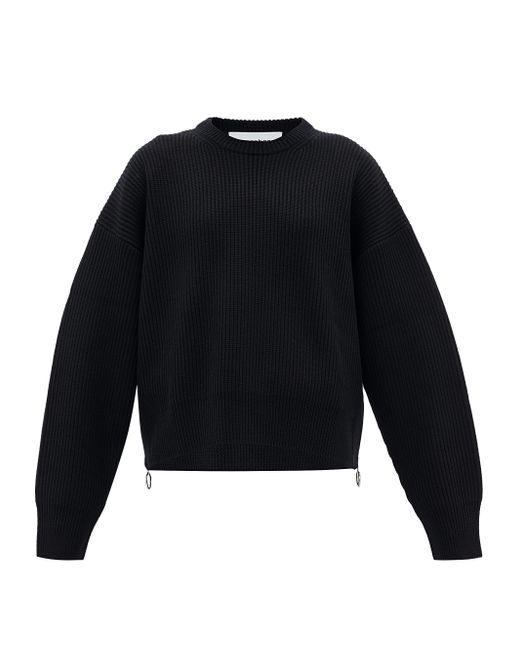 Paco Rabanne ジップサイド ニットウールセーター Black
