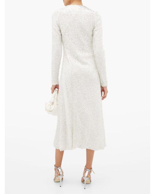 Galvan ノットフロント スパンコール ドレス White