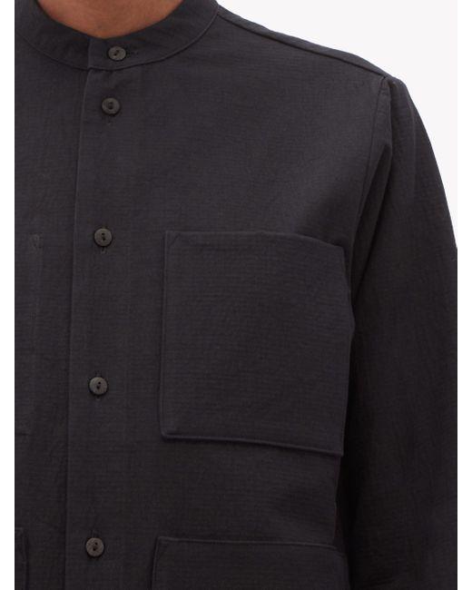 Toogood ザ ロックスミス パッチポケット テクスチャードコットンシャツ Black