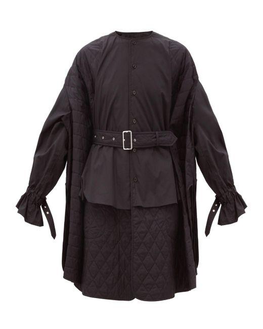 Noir Kei Ninomiya キルティングパネル コットンシャツドレス Black