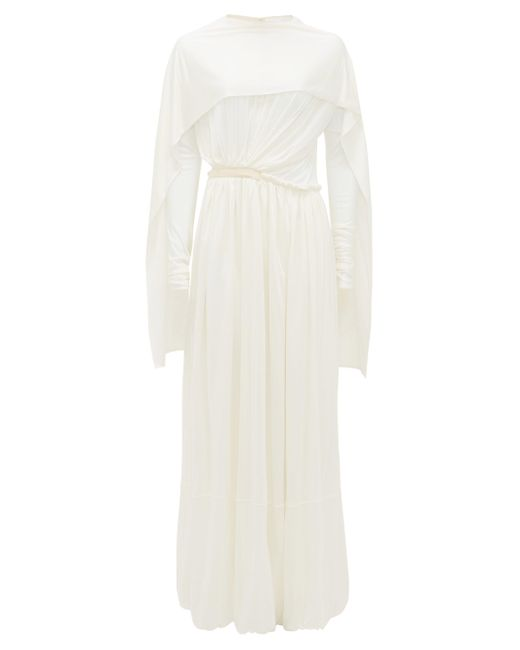Jil Sander White Caped Silk-jersey Maxi Dress