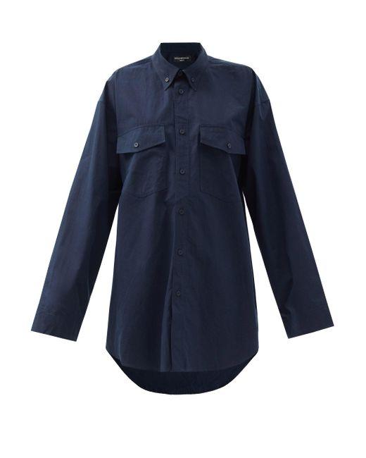 Balenciaga オーバーサイズ コットンポプリンシャツ Blue