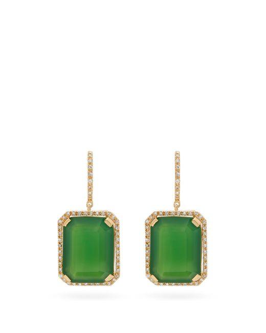 SHAY ポートレート ダイヤモンド&グリーンオニキス 18kゴールドピアス Multicolor