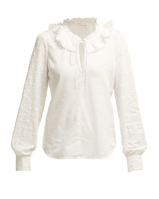 See By Chloé - White Ruffled Collar Cotton Blouse - Lyst