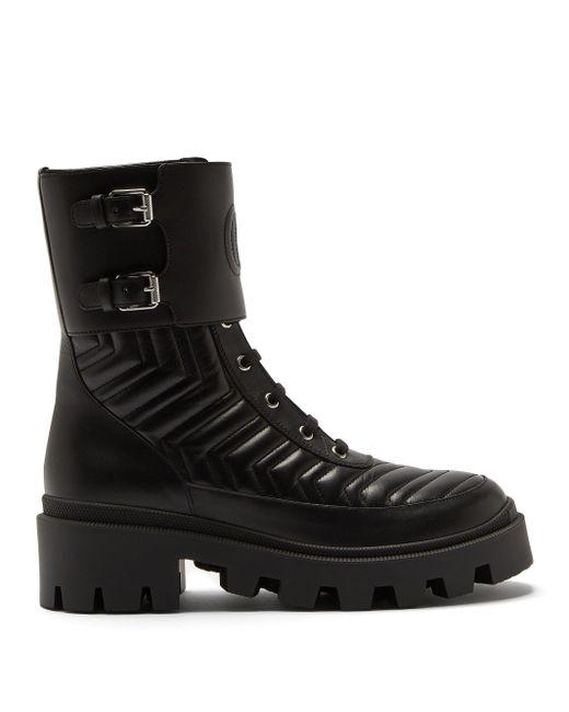 Gucci シェブロンキルティング レザーブーツ Black