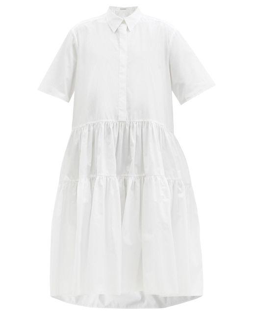 CECILIE BAHNSEN プリムローズ ティアード ポプリンシャツドレス White