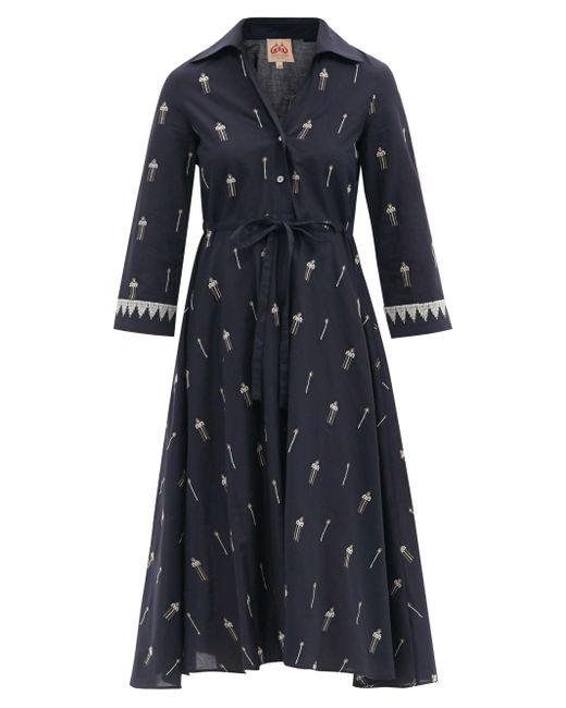 Le Sirenuse ルーシー エンブロイダリー コットンシャツドレス Blue