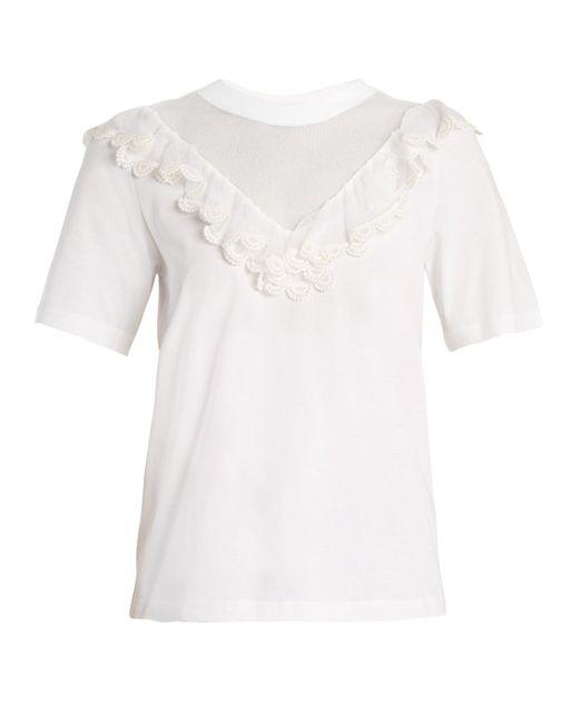 Chloé - White Mesh-insert Ruffled Cotton Top - Lyst