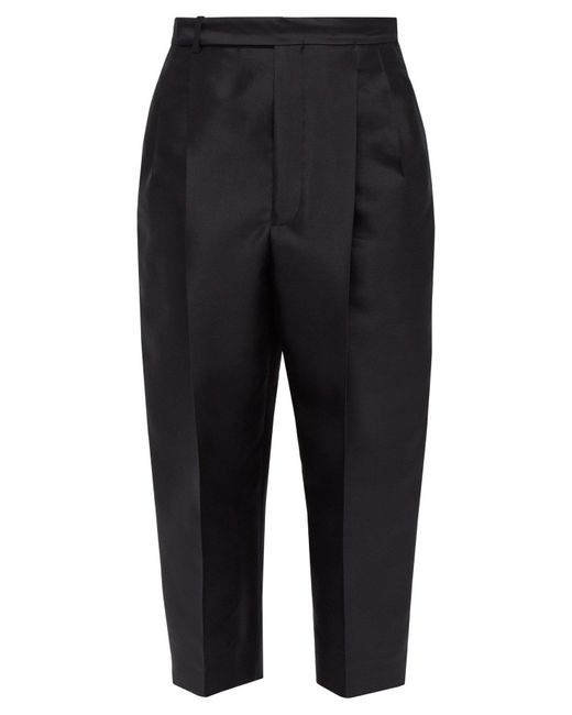 Haider Ackermann Black Cropped Wool Blend Twill Trousers for men