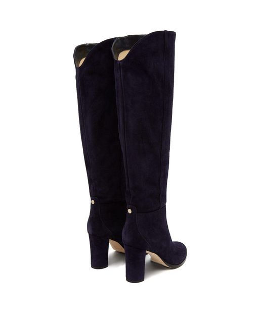 a72eacc5fc1c ... Jimmy Choo - Blue Madalie 80 Knee High Suede Boots - Lyst ...