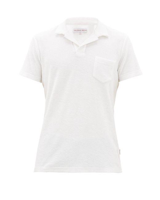 メンズ Orlebar Brown テリーコットンポロシャツ White