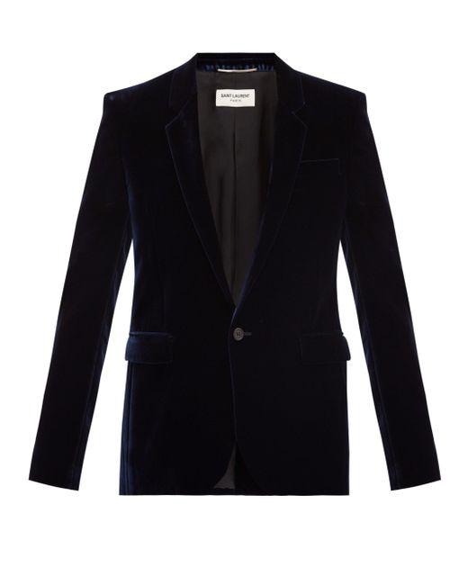 メンズ Saint Laurent ベルベット シングルジャケット Blue