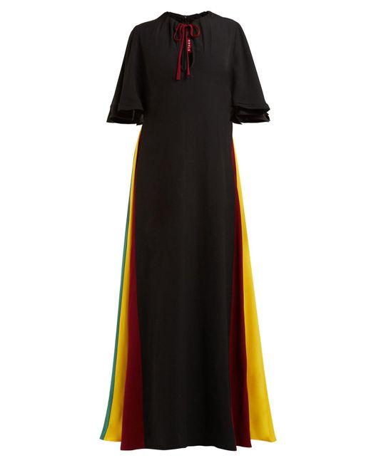 Staud Black Victorian Rainbow-panel Maxi Dress