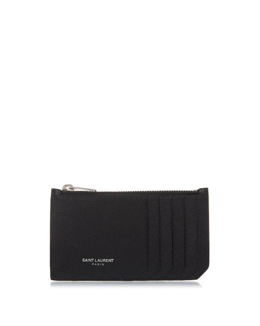 Saint Laurent - Black Grained-leather Cardholder for Men - Lyst