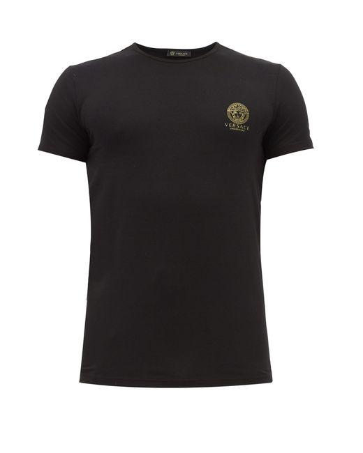 T-shirt en jersey à col en V et imprimé Medusa Versace pour homme en coloris Black