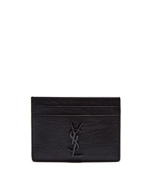 メンズ Saint Laurent モノグラム クロコダイルパターンレザーカードケース Black