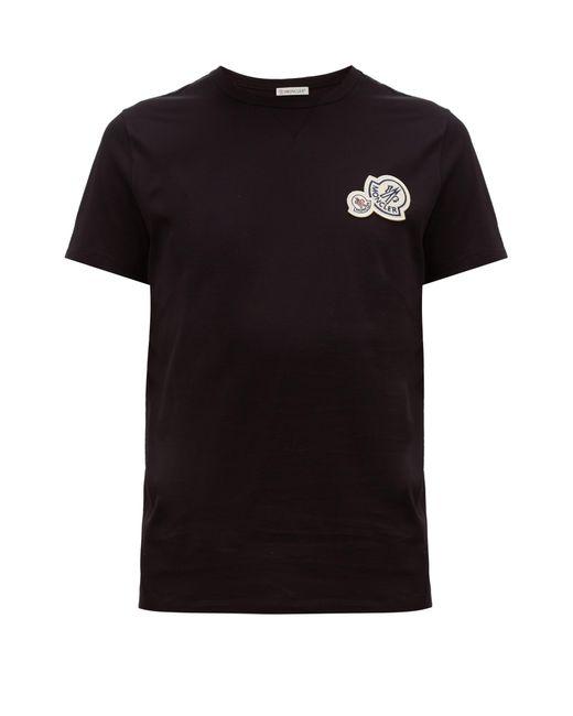 T-shirt en coton à empiècement logo Maglia Moncler pour homme en coloris Black